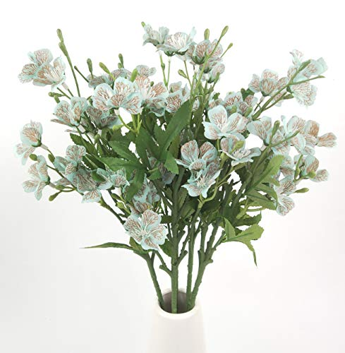 "25"" Long Stem of Artificial Flowers Faux Plants for Tall Vase Fake Silk Flower Arrangements Home Wedding Decoration 5 Pieces (Blue)"