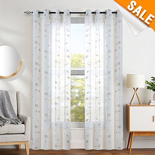 Ivory Curtains for Living Room Leaf Geometric Embroidery Semi-Sheer Curtains for Bedroom, 2 Panels, 84 Inch Length, Ring (Geometric Leaf)