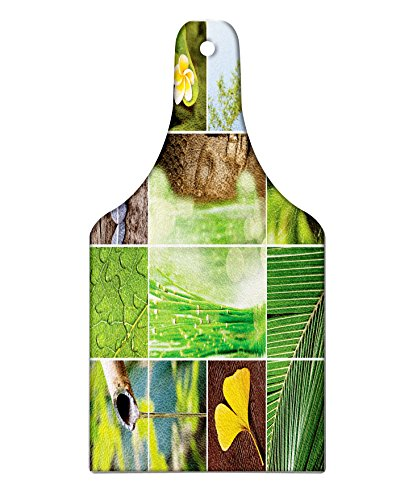 Lunarable Zen Cutting Board, Eastern Asian Religion Collage with Zen Features Meditation Calm Spiritual Mind Life, Decorative Tempered Glass Cutting and Serving Board, Wine Bottle Shape, Green Grey by Lunarable