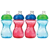 Nuby 4 Count Super Spout Easy Gripper, Blue/Red, 10 Ounce