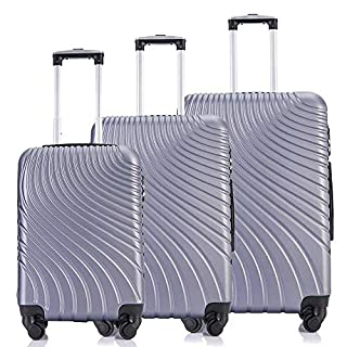 Fridtrip Luggage Sets ABS Suitcase Clearence Set Of 4 Carry On Luggage With Spinner Wheels (3 PCS ABS, Silver)