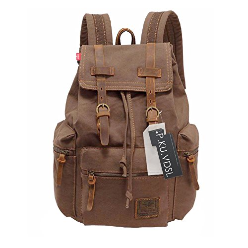 Canvas Backpack, P.KU.VDSL-AUGUR SERIES Vintage Canvas Leather Backpack Hiking Daypacks Computers Laptop Backpacks Unisex Casual Rucksack Satchel Bookbag Mountaineering Bag for Men (Sporty Laptop Backpack)
