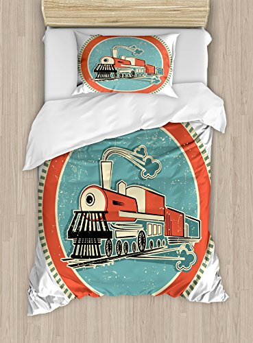 Steam Engine Duvet Cover Set Twin Size by Ambesonne, Vintage Styled Orange and Blue Banner Train Transportation Retro Old Print, Decorative 2 Piece Bedding Set with 1 Pillow Sham, Turquoise Salmon Ivory Transportation Multi Duvet Set