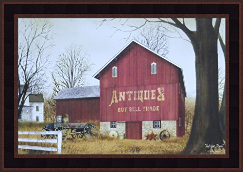 Antique Framed Print (Antique Barn by Billy Jacobs 15x21 Country Red Barn Farm Americana Primitive Folk Art Print Wall Décor Framed Picture)