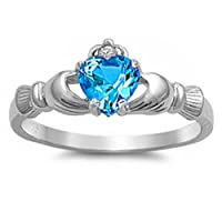 Sterling Silver Irish Claddagh Simulated Gemstone Promise Ring All Colors Available