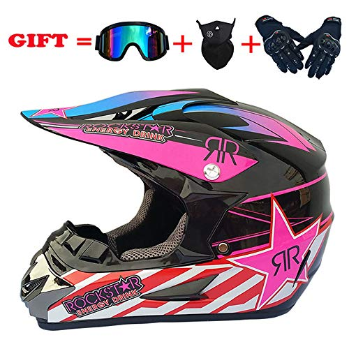 yaning ATV MX Dirt Bike Off-Road Helmet DOT/ECE Approved with Goggle Mask and Gloves (Best Off Road Helmet 2019)