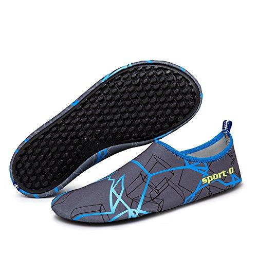 KEESKY Männer Frauen Barfuß Wasser Schuhe Quick Dry Slip Auf Aqua Socken Für Beach Pool Aerobic Grau Blau