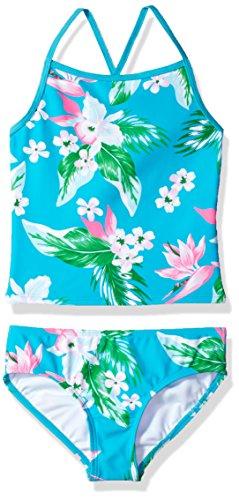 Kanu Surf Toddler Girls' Melanie Beach Sport 2-Piece Banded Tankini Swimsuit, Alania Floral Aqua, 4T