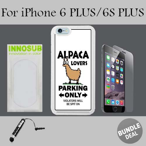 Alpaca Lovers Custom iPhone 6 PLUS Cases/6S PLUS Cases-White-Rubber,Bundle 3in1 Comes with HD Tempered Glass/Universal Stylus Pen by innosub ()