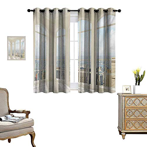 (Modern Window Curtain Fabric Big White Contemporary Apartment Flat Overlooking The City Urban View Print Drapes for Living Room W55 x L45 White Baby Blue)