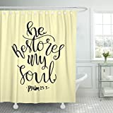 Breezat Shower Curtain Life He Restores My Soul Lettering Bible Verse Modern Calligraphy Christian Believe Waterproof Polyester Fabric 72 x 78 Inches Set with Hooks