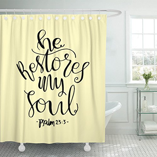 Breezat Shower Curtain Life He Restores My Soul Lettering Bible Verse Modern Calligraphy Christian Believe Waterproof Polyester Fabric 72 x 78 Inches Set with Hooks by Breezat