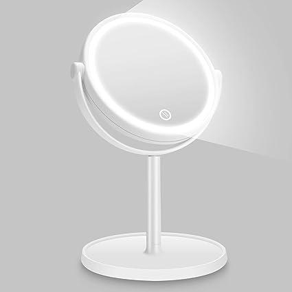 Specchi Professionali Per Trucco.Kasimir Specchio Da Trucco Con Luce Led Specchio Cosmetico Illuminato Portatile Specchio Makeup Professionale Touch Screen 360 Girevole Per Trucco