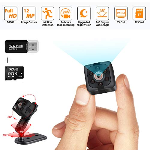 Mini Spy Camera Hidden Camera 1080P Wireless Spy Cop Cam Seen on TV Portable Small Covert Home Nanny Cam with Motion Detection and Night Vision,Action Camera with 32G SD Card