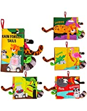 Soft Tails Books, Activity Crinkle Books, Non-Toxic Cloth Books Set for Newborns, Infants & Toddler Toys, Interactive Baby Girl & Baby Boy Toys