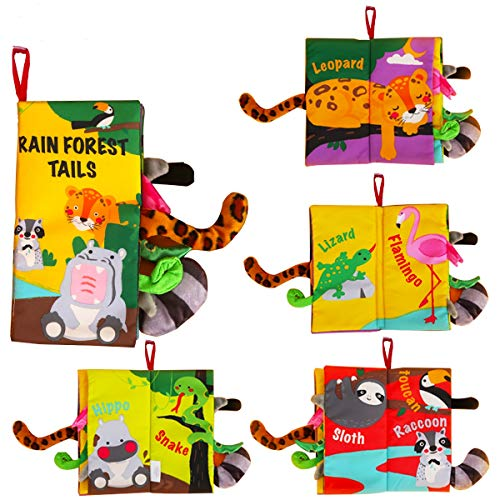 beiens Soft Baby Cloth Books,Touch and Feel Crinkle Tail Books, Cloth Books Set for Babies,Infants & Toddler Early Children Development Interactive Baby Toys Gift (Rainforest)
