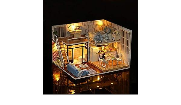 DIY Miniature Loft Dollhouse Kit Realistic Mini 3D Pink Wooden House Toy J0L8