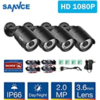 SANNCE Security Camera System HD 4-Pack 1080P Surveillance Cameras, 2.0 MP 1920TVL Weatherproof CCTV Bullet Cameras with 100ft Long Distance Night Vision
