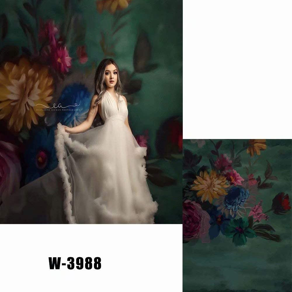 5x7ft Polyester Colorful Flowers Painting Backdrop for Photography Baby Shower Backdrop Maternity Shoots Newborn Photo Studio Background W-3988