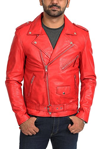 Mens Real Leather Biker Brando Style Jacket Popular Zip Up Coat Johnny Red (XX LARGE)