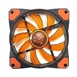 APEVIA AF512L-SOG 120mm Orange LED Ultra Silent Case Fan w/ 15 LEDs & Anti-Vibration Rubber Pads (5-pk)