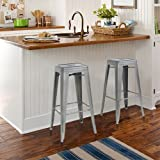 """Best Choice Products SKY1651  30"""" Set of 2 Modern Industrial Backless Metal Bar Stools- Silver/Gray"""