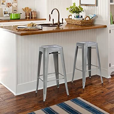 Best Choice Products Home Set of 2 Modern Industrial Metal Bar Stools 30  Seat Height- Silver