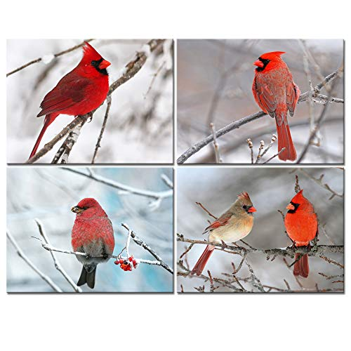 sechars - 4 Piece Modern Canvas Painting Wall Art Birds Red Cardinal on Snowy Branch Pictures Print for Living Room Decor Winter Landscape Poster Gallery Wrap Ready to ()