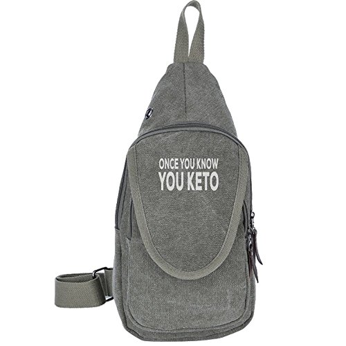 Price comparison product image Once You Know You Keto Fashion Men's Bosom Bag Cross Body New Style Men Canvas Chest Bags ForestGreen
