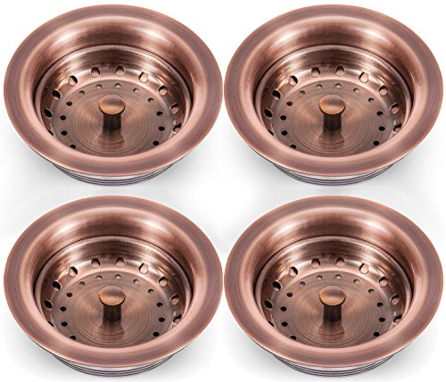Copper Sink Strainer With Basket 4 Pack   Premium Quality Strainer With  Copper Finish   Vintage