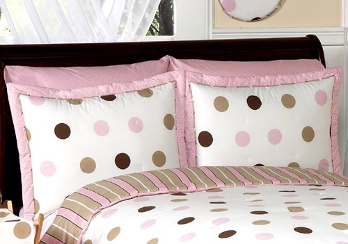Sweet Jojo Designs 4-Piece Pink and Brown Modern Dots Children's Bedding Girls Twin Set