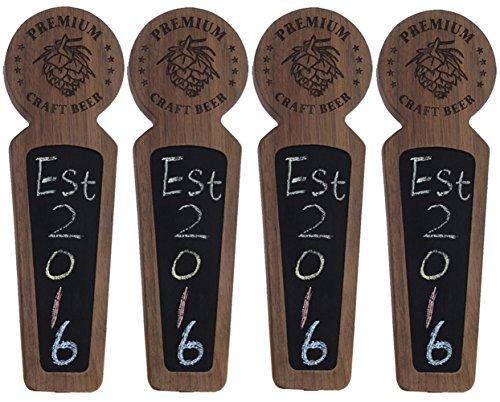 Beer taps handle Set of 4, Kegerator Beer Tap Handles with chalkboard, Unique Wooden Beer Taps 8.3'' Length, Premium Craft Beer, Made of natural Walnut Wood … by Sweetheart