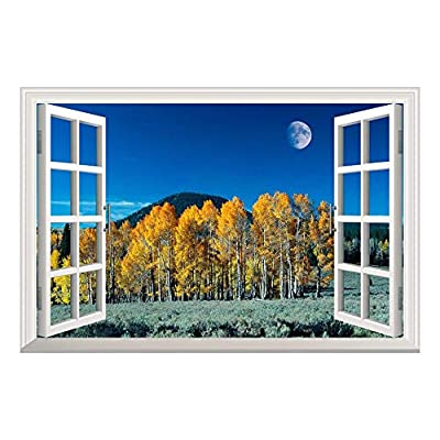 Yellow Pine Tree Under Moonlight at Night Open Window Mural Wall Sticker - 36