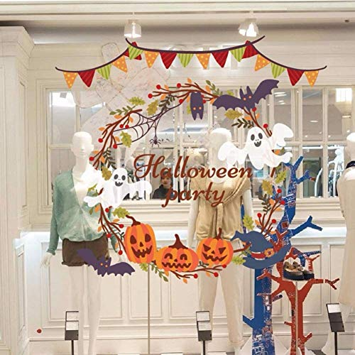 Gxinyanlong Wall Sticker Halloween Ghost Wreath Pumpkin Head