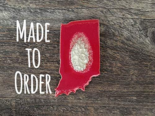 INDIANA Geode Crackle Magnet, Indiana Refrigerator Magnet, State Shaped Magnet, Custom Magnet, Dock 6 Pottery, Kerry Brooks Pottery
