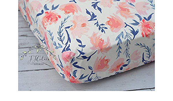 Navy Floral Crib Sheet Navy Blue Floral  Pink Coral Changing Pad Cover Navy Coral Crib Bedding Nursery Accessories