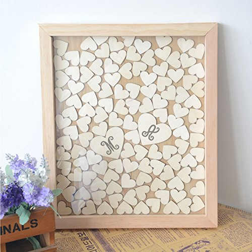 (buythrow Personalized Initials Wedding Guest Book Alternative Drop Box Wooden Hearts Wedding Shadow Box Brial Shower Gifts 40 x 50 cm with 150 hearts )