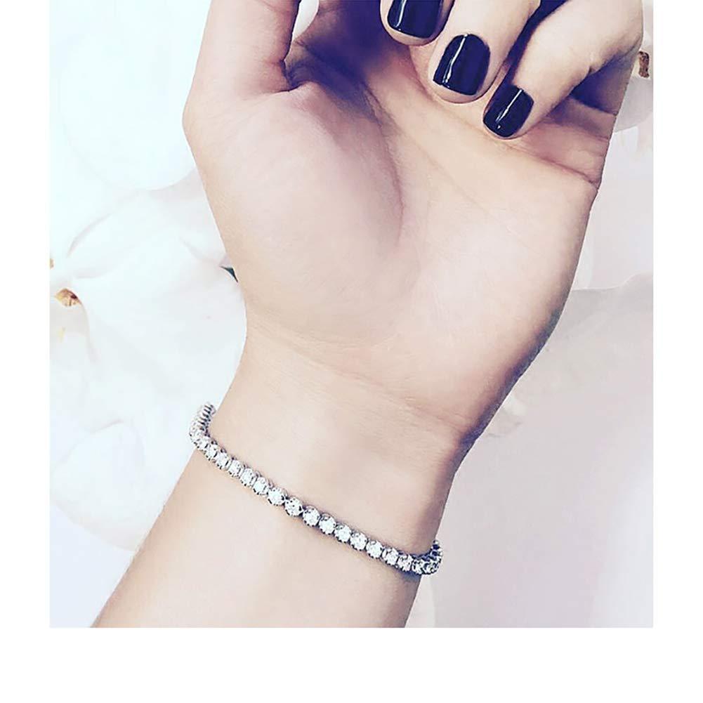 Bracelet Cubique Cristaux De Zircon Yolistar Femmes Bracelet Blanc et Noir//Blanc 2 Pi/èces Zircon Bijoux R/églable 2 IN 1 Bracelet fille Cadeau Exquis /él/égant