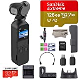 2018 DJI Osmo Pocket Handheld 3 Axis Gimbal Stabilizer with Integrated Camera, Comes 32GB Extreme, Attachable to Smartphone, Android, iPhone