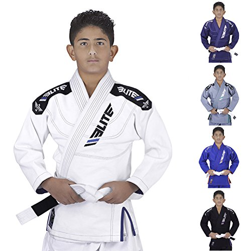 Elite Sports Ibjjf Ultra Light Bjj Brazilian Jiu Jitsu Gi for Kids with Preshrunk Fabric and Free Belt C3, White