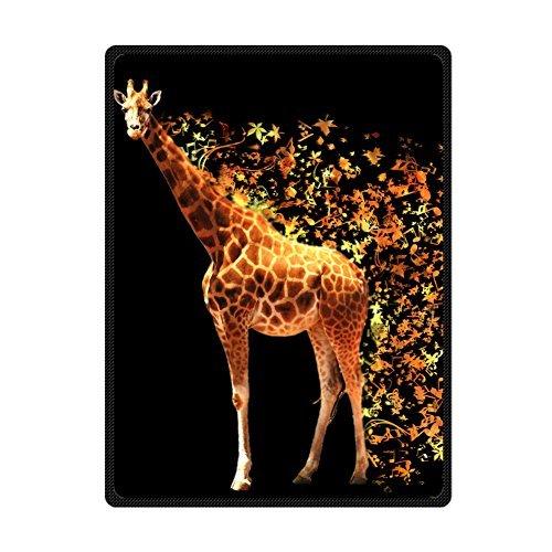 (Custom Black Blanket Gorgeous Giraffe Supersoft Throw Fleece Blanket)