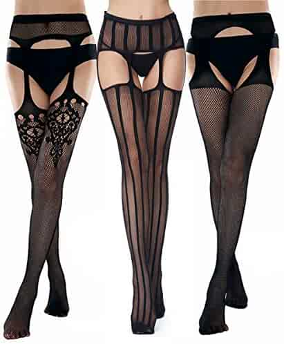 2e94fc51723 Buitifo Womens Fishnet Tights Suspender Pantyhose Thigh-High Stockings  Lingerie Plus Size Black