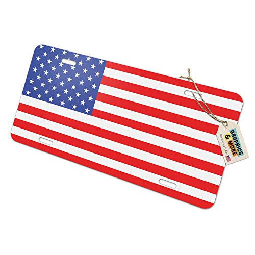 (USA Flag United States American - Patriotic Novelty Metal Vanity License Tag Plate)