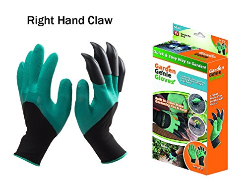 MARBLE Garden Genie Gloves with Claws on Right Hands for Digging and Planting As Seen On TV (Right Hand Claw)