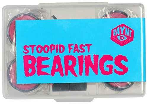 Rayne Longboards Stoopid Fast Bearings with Spacers, Top Grade Steel Bearings for Longboard Trucks, Designed for 8mm Axles, Precision Matched Speed Ring Spacer & Bearing, Pre-Lubricated & Long-Lasting by Rayne