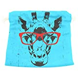 Dragon Sword Portrait Of Giraffe With Glasses Gift Bags Jewelry Drawstring Pouches for Wedding Party, 6x8 Inch