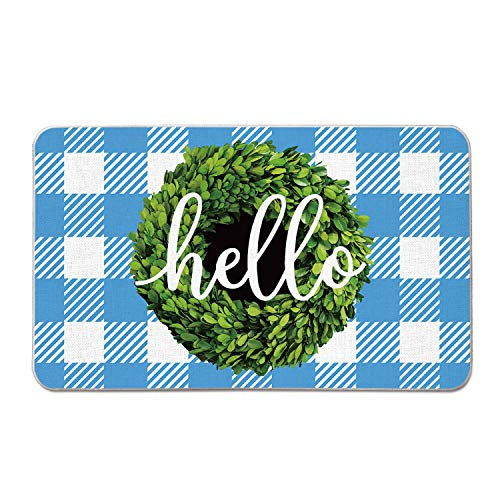 AVOIN Boxwood Wreath Hello Decorative Doormat Non-Skid Rubber, 17 x 29 Inch Spring Easter Buffalo Plaid Low-Profile Floor Mat Switch Mat for Indoor Outdoor Home Garden from AVOIN colorlife