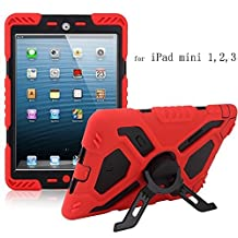 Y&M(TM) Ipad Mini Case,Extreme Military Heavy Duty Waterproof Dust/Shock Proof with stand Hang Cover Tablets Hybrid Hard Army Case For iPad Mini1/Mini2/Mini3 red/black