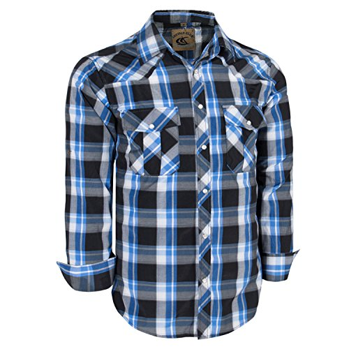 (Coevals Club Men's Long Sleeve Casual Western Plaid Buttons Shirt (L, 19#Black,Blue) )