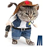 Mikayoo Pet Dog Cat Halloween Costumes,The Cowboy for Party Christmas Special Events Costume,West Cowboy Uniform with Hat,Funny Pet Cowboy Outfit Clothing for Dog cat(XS)